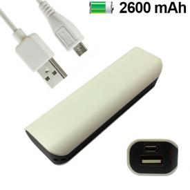 COOL 007774 BATERIA EXTERNA MICRO-USB POWER BANK 2600 mAh BARRA BLANCO BORDE NEGRO